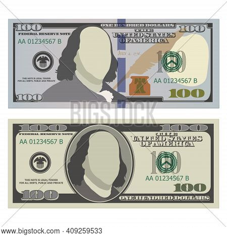 Hundred Dollar Bills In New And Old Design From The Front Side. 100 Us Dollars Banknotes. Vector Ill