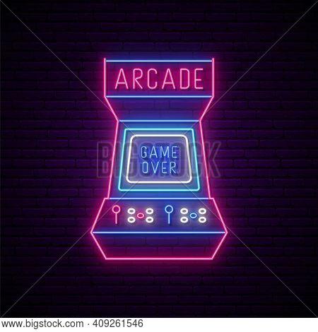 Neon Arcade Game Machine Sign . Glowing Entertainment Emblem, Bright Advertising Banner. Arcade Game