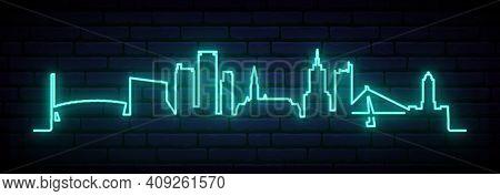Blue Neon Skyline Of Helsinki. Bright Helsinki City Long Banner. Vector Illustration.