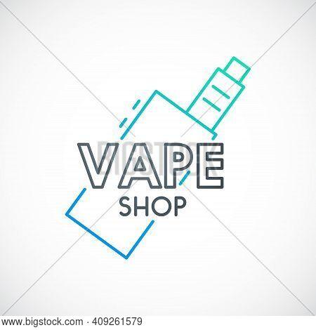 Electronic Cigarette Sign.line Vape Device Icon. Vector Emblem For Vape Shop Or Retail.