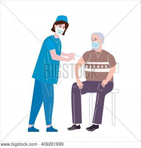 Vaccination For Immunity Health, Doctor Makes Injection Vaccine Of Of Flu Old Man. Healthcare Preven