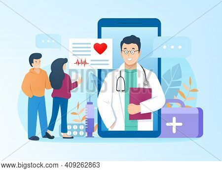 Doctor Consults Patients Online Through Mobile Application At Smartphone In Flat Style. Family Get C