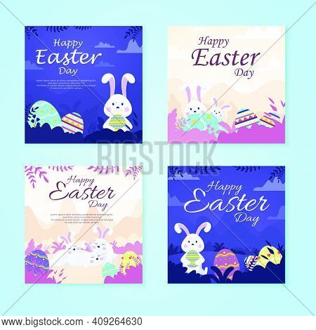 Bundle Vector Happy Easter Illustration With Funny Bunny. Spring Nature, Flowers, Ornate Easter Egg.
