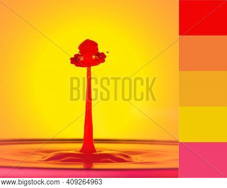 A Red Water Drop Spout With A Decorated Hat Shape On Top, Against A Yellow Background. Liquid Drop A
