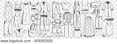 Female And Male Clothes And Accessories Doodle Set. Collection Of Hand Drawn Garment Dress Pants Jac