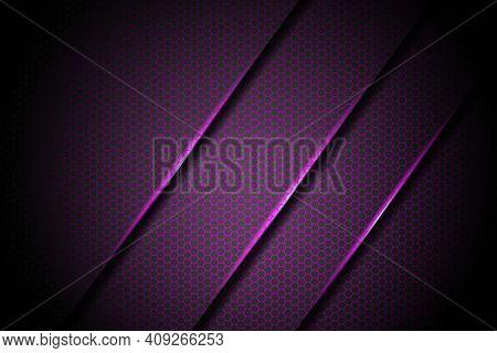 Abstract Purple Lights Slash With Hexagon Mesh Pattern Design Modern Luxury Futuristic Background Ve