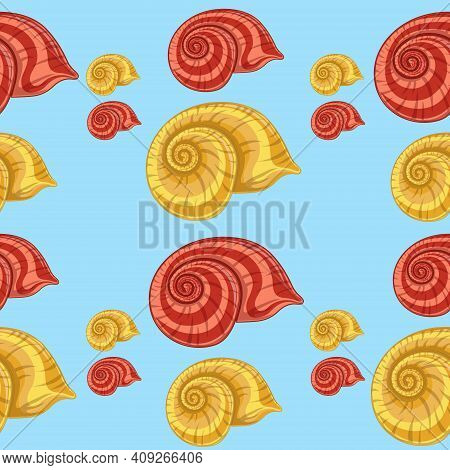Seamless Pattern With Yellow And Red Shells On A Blue Background. Carrot Design With Seashells. Vect