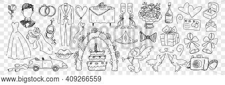 Wedding Marriage Accessories Doodle Set. Collection Of Hand Drawn Rings Costumes Angels Cake Wedding