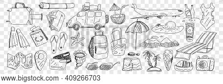 Travel And Tourism Attributes Doodle Set. Collection Of Hand Drawn Plane Backpack Suitcase Beachwear