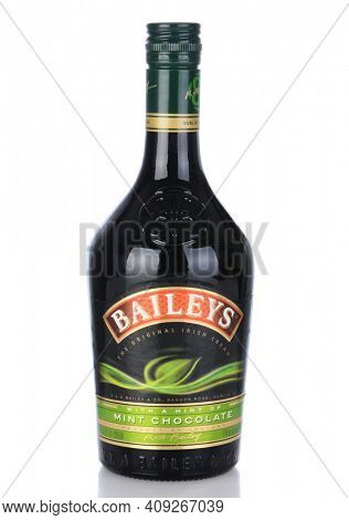 IRVINE, CA - January 11, 2013: A bottle of Baileys Mint Chocolate Irish Cream Liqueur. Baileys, introduced in 1974, was the first Irish Cream to be brought to market.