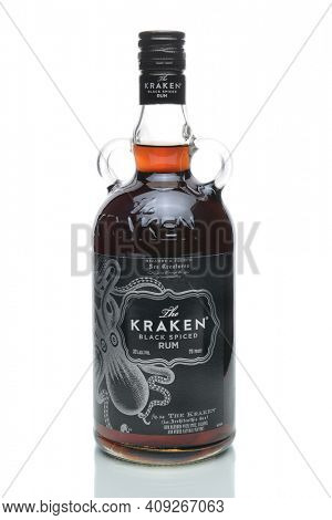 IRVINE, CA - JANUARY 4, 2018: Kraken Black Spiced Rum. A Caribbean spiced rum named after the kraken, a mythical giant squid-like sea monster.