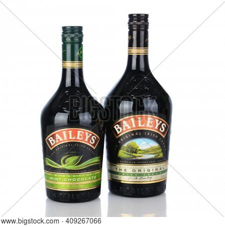 IRVINE, CA - January 11, 2013: A bottle of Baileys Irish Cream and Mint Chocolate Liqueur. Baileys, introduced in 1974, was the first Irish Cream to be brought to market.