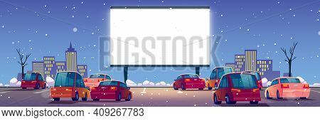 Outdoor Cinema, Drive-in Movie Theater With Cars On Open Air Parking At Winter. Vector Cartoon Lands