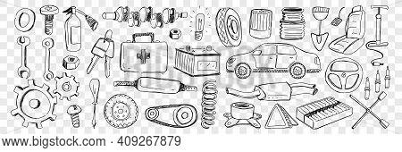 Tools For Car Repairing Doodle Set. Collection Of Hand Drawn Cars Keys Shovel Screwdriver Engine Kit