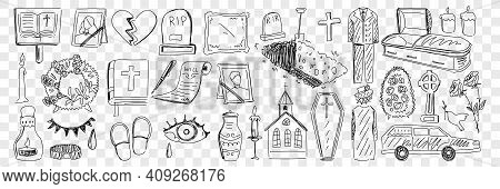 Funeral And Cemetery Attributes Doodle Set. Collection Of Hand Drawn Coffin Candle Church Cemetery M
