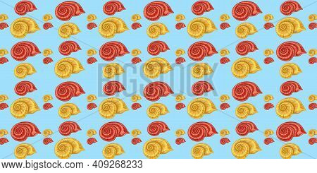 Bright Colorful Background With Seashells On A Blue Background. Marine Background For Website, Phone