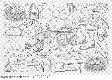 Spring And Farming Doodle Set. Collection Of Hand Drawn Birdhouse Butterflies Boots Umbrella Shovel