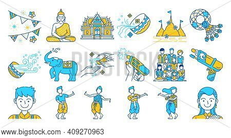 Songkran Thailand Festival Colored Line Icon Set.two Tone Color. Thai Water Splashing Festive Day, T