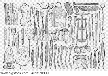 Tools For Sculpture Doodle Set. Collection Of Hand Drawn Equipment Stone Scapula Stools And Hammers