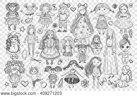 Dolls And Toys For Girl Doodle Set. Collection Of Hand Drawn Handmade Dolls Toys In Dress With Long
