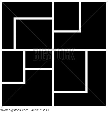 Vector Mood Board Of Nine Frames. Black Photo Collage Templates.