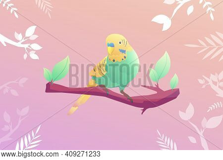A Budgie Sits On A Monstera Branch With Background Vector Illustration