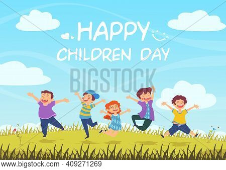 International Children Day, Children Jumping On Summer Meadow, Colorful Illustration Free Vector