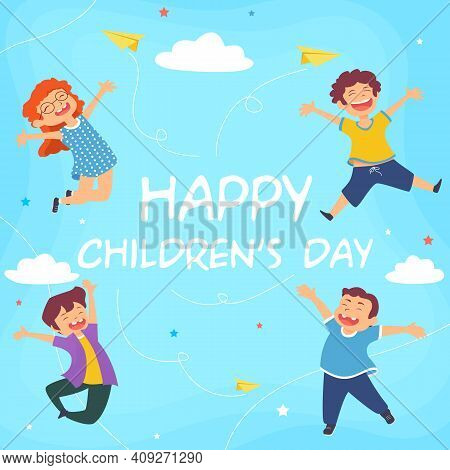 Children Day Concept In Hand Drawing Colorful Illustration Free Vector