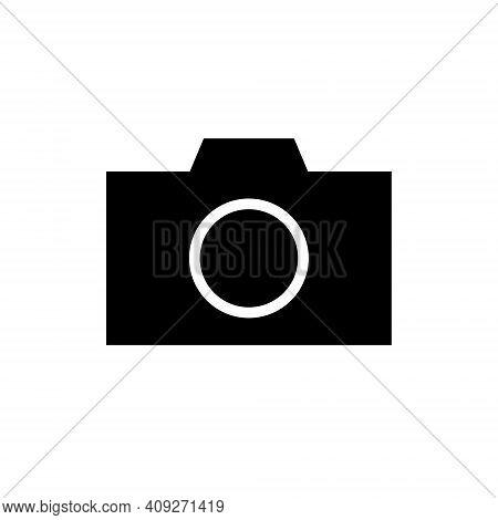 Camera Icon Symbol. Photograph Sign. Simple Flat Shape Logo. Black Silhouette Isolated On White Back
