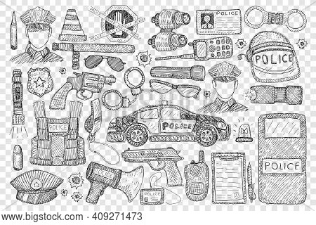 Police Tools And Uniform Doodle Set. Collection Of Hand Drawn Police Office, Car Gun Speaker Uniform