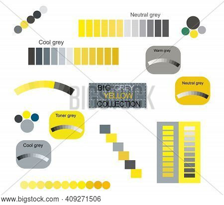 Big Yellow Grey Tones Trendy Colors 2021 Vector Graphic Collection. Technology Color Palettes Design