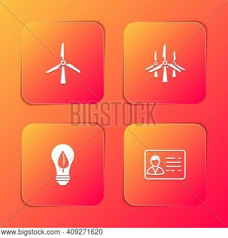 Set Wind Turbine, Turbines, Light Bulb With Leaf And Identification Badge Icon. Vector