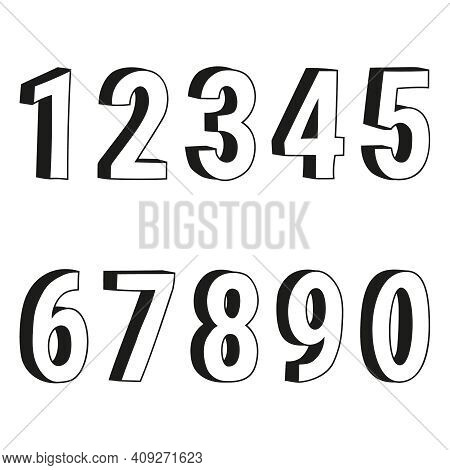 Vector Illustration Of Numbers One, Two, Three, Four, Five, Six, Seven, Eight, Nine, Zero In Cartoon