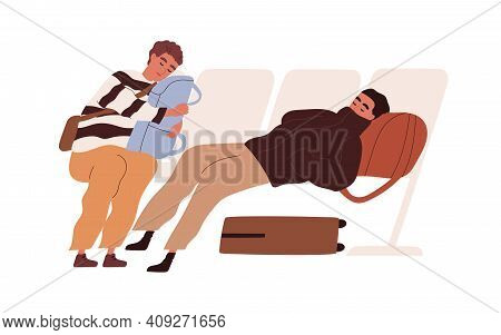 Tired Passengers With Suitcases Sleeping In Chairs And Waiting For Delayed Flight. Young Travelers W