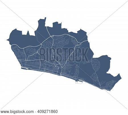 Brighton & Hove Map. Detailed Vector Map Of Brighton & Hove City Administrative Area. Cityscape Post