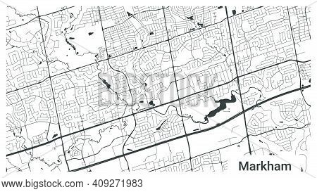 Map Of Markham City, Ontario, Canada. Horizontal Background Map Poster Black And White Land, Streets