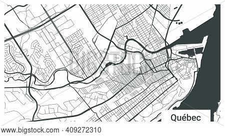Map Of Quebec City, Ontario, Canada. Horizontal Background Map Poster Black And White Land, Streets