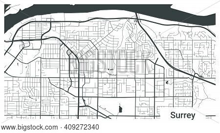 Map Of Surrey City, British Columbia, Canada. Horizontal Background Map Poster Black And White Land,