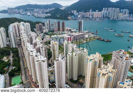 Yau Tong, Hong Kong 18 September 2020: Top view of Hong Kong city