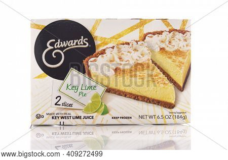 IRVINE, CALIFORNIA - MAY 6, 2019: A box of Edwards Key Lime Pie. The box contains two slices of the dessert treat.