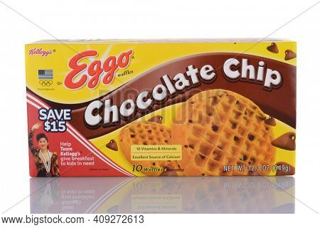 IRVINE, CA - January 29, 2014: A package of Eggo Chocolate Chip Waffles. When first introduced the product it was called Froffles, for Frozen Waffles and later renamed Eggo due to their eggy flavor.