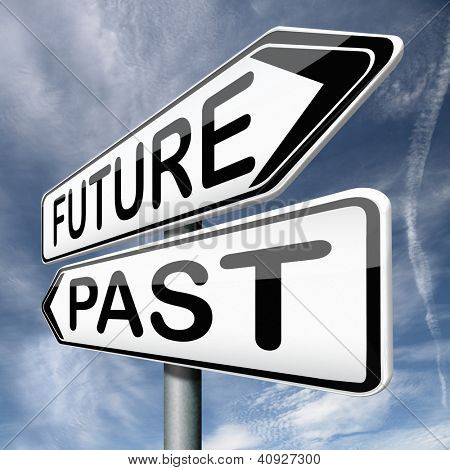 future or past yesterday or tomorrow timeline road sign arrow