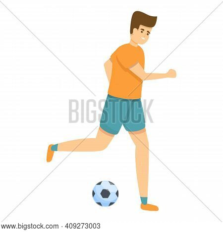 Kid Soccer Dribbling Icon. Cartoon Of Kid Soccer Dribbling Vector Icon For Web Design Isolated On Wh