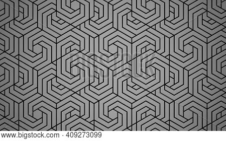 Abstract Geometric Pattern With Stripes, Lines. Seamless Vector Background. Black And Gray Ornament.