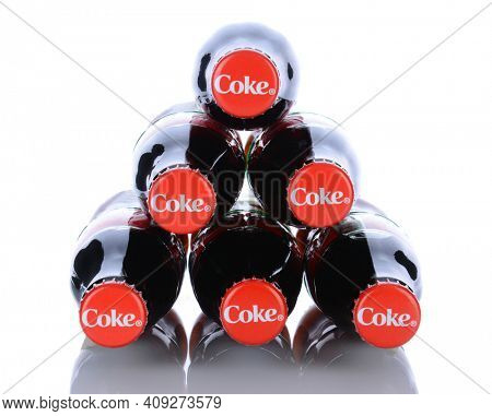 IRVINE, CA - January 29, 2014: 6 Coca-Cola Classic Bottles. Coca-Cola is the one of the worlds favorite carbonated beverages.