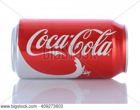 IRVINE, CA - January 29, 2014: A can Coca-Cola Classic laying on it side. Coca-Cola is the one of the worlds favorite carbonated beverages.