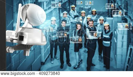 Facial Recognition Technology For Industry Worker To Access Machine Control . Future Concept Interfa