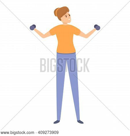Woman Dumbbell Training Icon. Cartoon Of Woman Dumbbell Training Vector Icon For Web Design Isolated