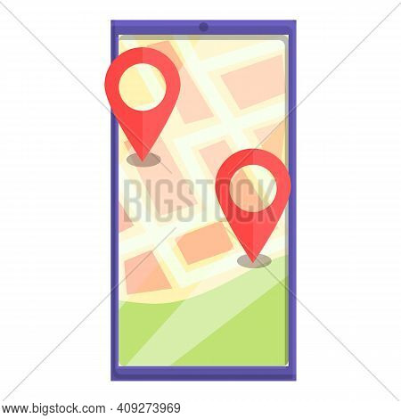 Gps Itinerary Icon. Cartoon Of Gps Itinerary Vector Icon For Web Design Isolated On White Background