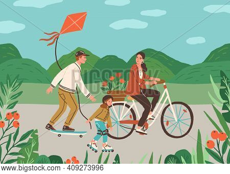Happy Family Spend Time Together Outdoors Riding Bicycle, Skateboard And Rolling On Roller Skates. A